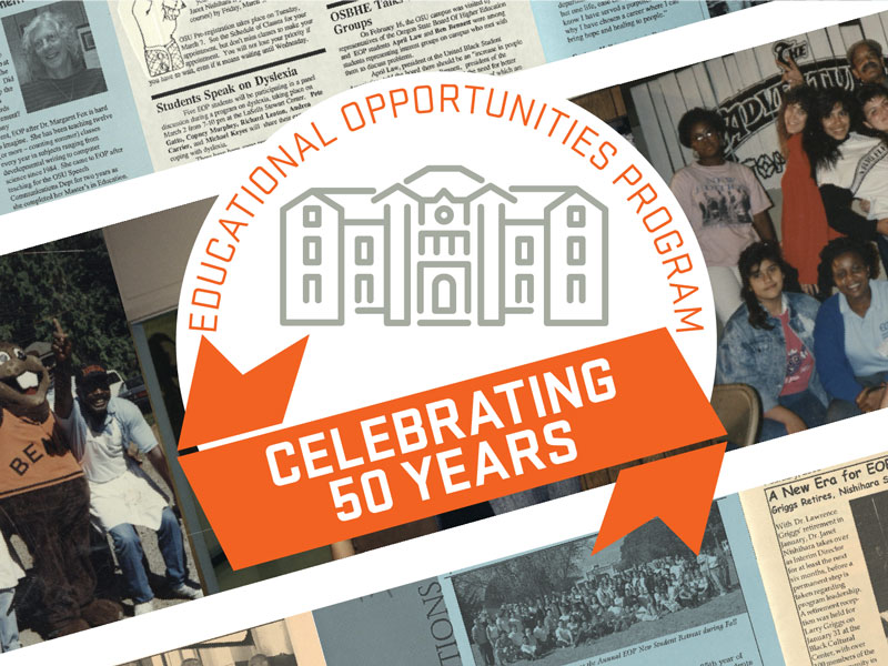 EOP Celebrating 50 Years logo with newspaper clippings in the background