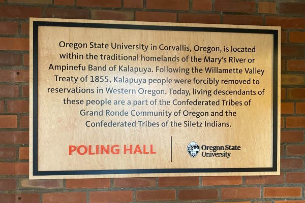 land acknowledgement from Poling Hall